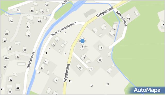 Rymanów-Zdrój, Węgierska, 3, mapa Rymanów-Zdrój