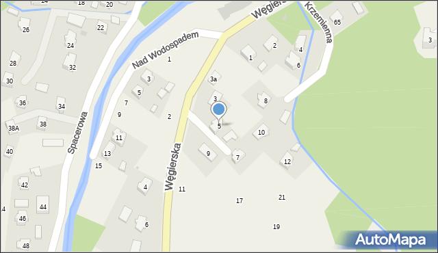 Rymanów-Zdrój, Węgierska, 5, mapa Rymanów-Zdrój