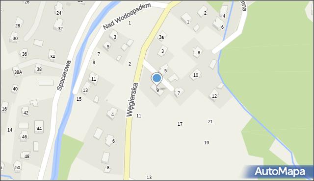 Rymanów-Zdrój, Węgierska, 9, mapa Rymanów-Zdrój