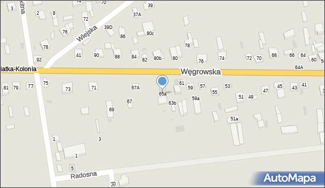 Sokołów Podlaski, Węgrowska, 65a, mapa Sokołów Podlaski