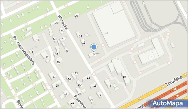 Warszawa, Wenecka, 14, mapa Warszawy
