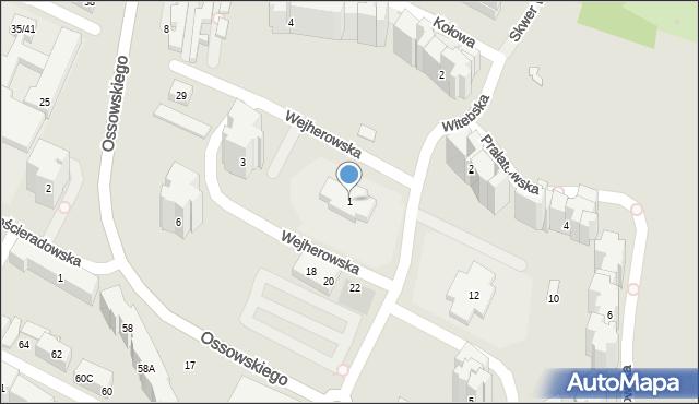 Warszawa, Wejherowska, 1, mapa Warszawy