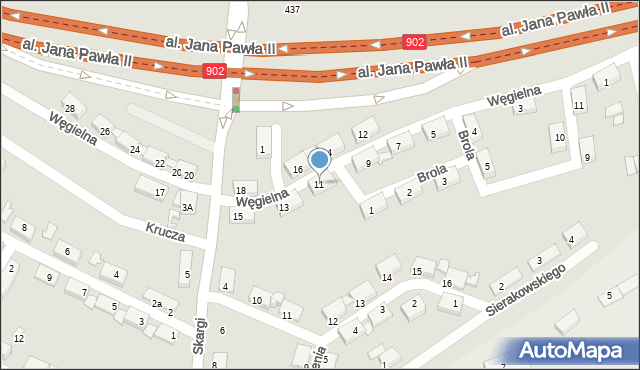 Zabrze, Węgielna, 11, mapa Zabrza