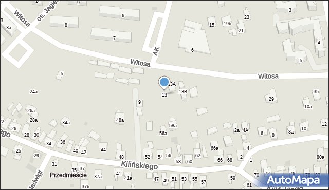 Dobczyce, Witosa Wincentego, 13, mapa Dobczyce