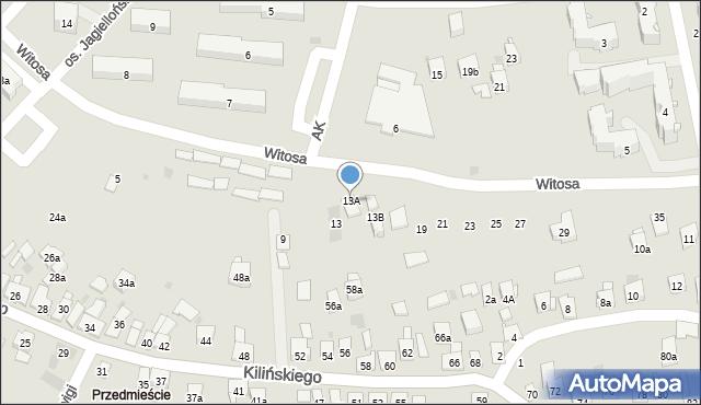Dobczyce, Witosa Wincentego, 13A, mapa Dobczyce