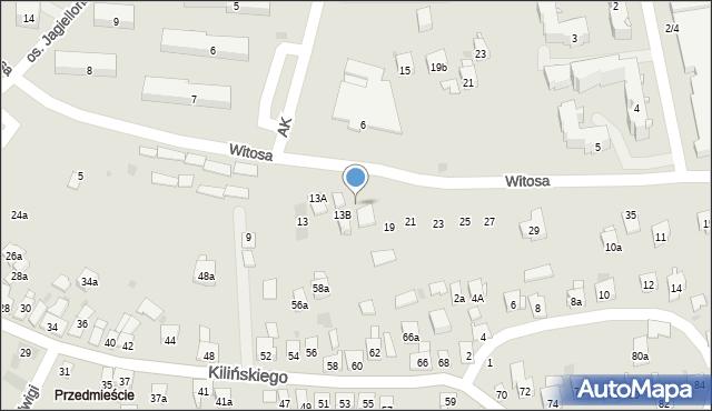 Dobczyce, Witosa Wincentego, 17, mapa Dobczyce