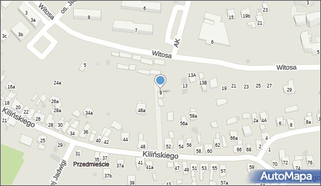 Dobczyce, Witosa Wincentego, 9, mapa Dobczyce