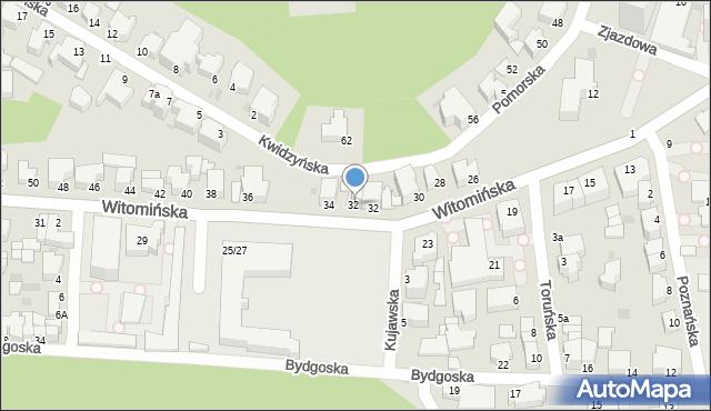 Gdynia, Witomińska, 32a, mapa Gdyni