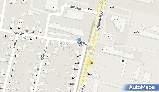 Grudziądz, Wiejska, 1, mapa Grudziądza