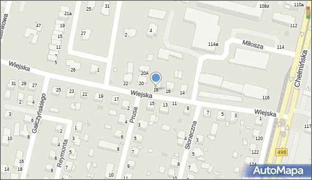 Grudziądz, Wiejska, 18, mapa Grudziądza