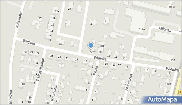 Grudziądz, Wiejska, 22, mapa Grudziądza