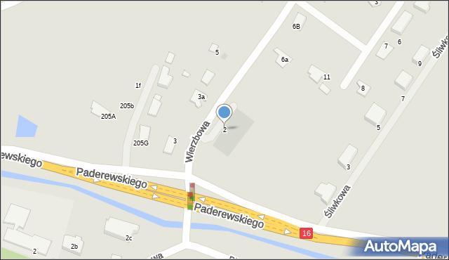 Grudziądz, Wierzbowa, 2, mapa Grudziądza