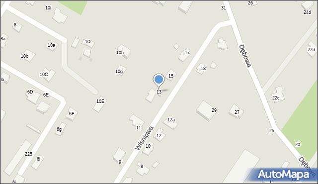 Grudziądz, Wiśniowa, 13, mapa Grudziądza