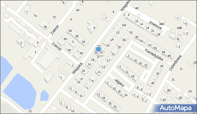 Józefosław, Wiejska, 1i, mapa Józefosław