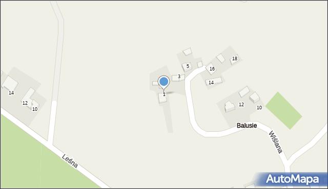 Las, Wiślana, 1, mapa Las