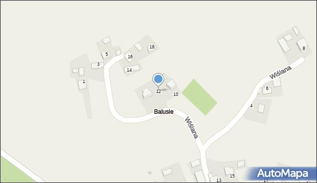 Las, Wiślana, 12, mapa Las