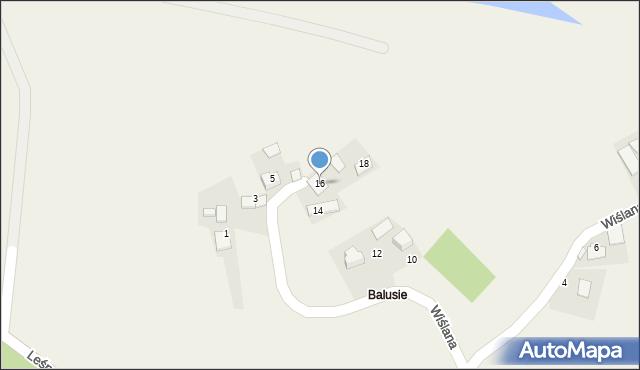 Las, Wiślana, 16, mapa Las