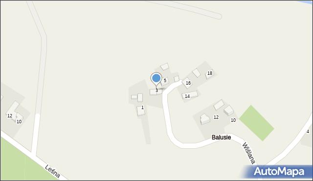 Las, Wiślana, 3, mapa Las