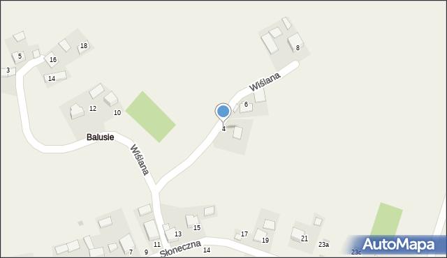 Las, Wiślana, 4, mapa Las