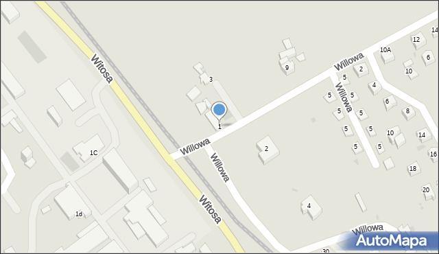 Limanowa, Willowa, 1, mapa Limanowa