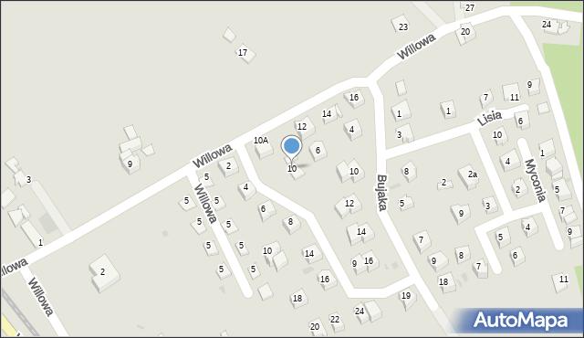 Limanowa, Willowa, 10, mapa Limanowa