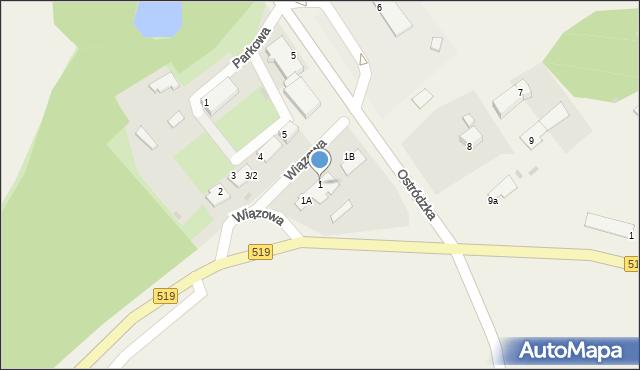 Małdyty, Wiązowa, 1, mapa Małdyty