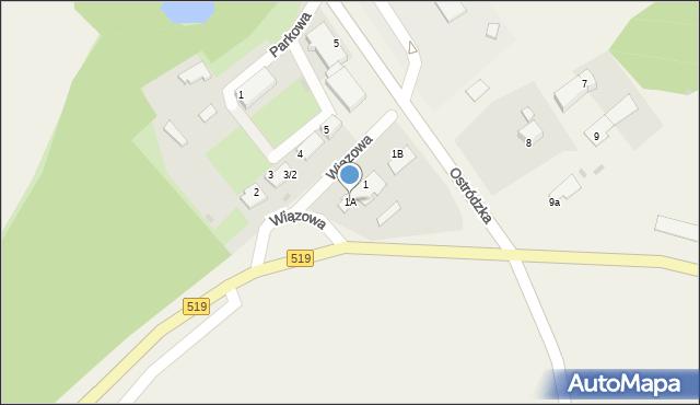 Małdyty, Wiązowa, 1A, mapa Małdyty