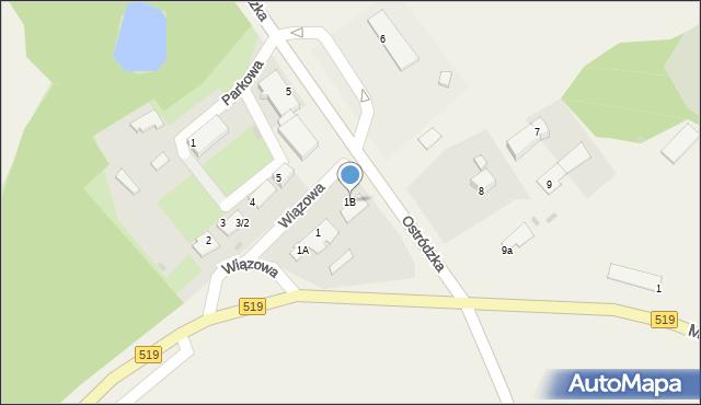 Małdyty, Wiązowa, 1B, mapa Małdyty