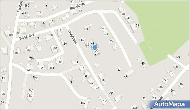 Mikołów, Wiązowa, 15, mapa Mikołów