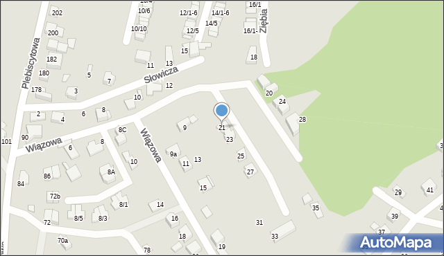 Mikołów, Wiązowa, 21, mapa Mikołów