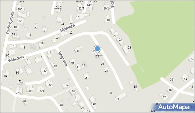 Mikołów, Wiązowa, 23, mapa Mikołów