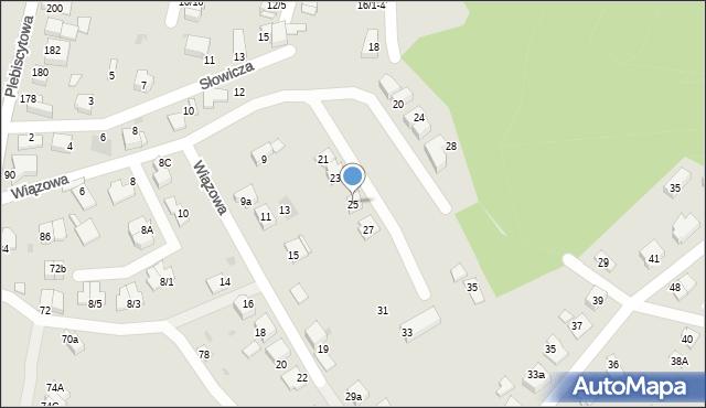 Mikołów, Wiązowa, 25, mapa Mikołów