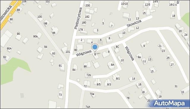 Mikołów, Wiązowa, 6, mapa Mikołów