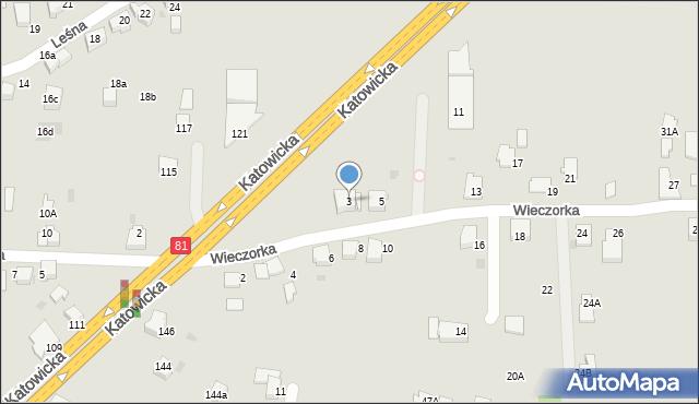 Mikołów, Wieczorka Józefa, 3, mapa Mikołów