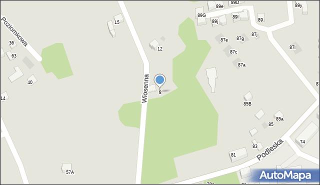 Mikołów, Wiosenna, 8, mapa Mikołów