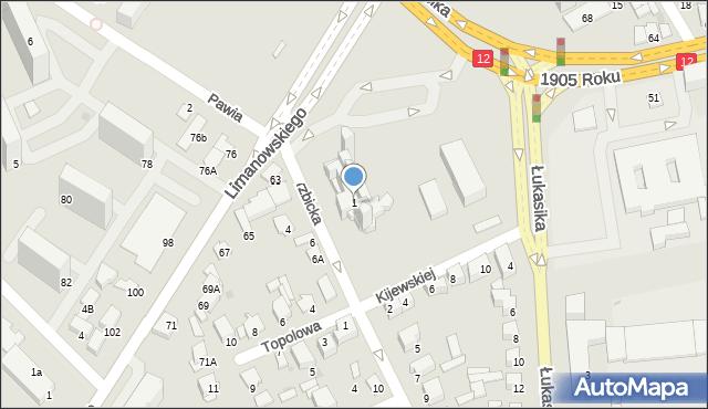 Radom, Wierzbicka, 1, mapa Radomia