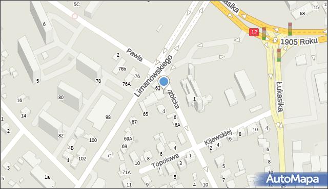 Radom, Wierzbicka, 2A, mapa Radomia