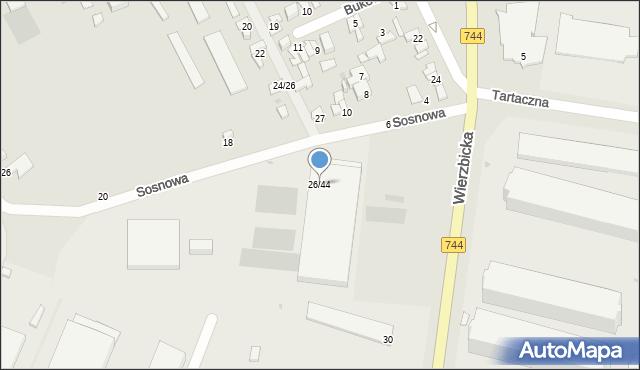 Radom, Wierzbicka, 26/44, mapa Radomia