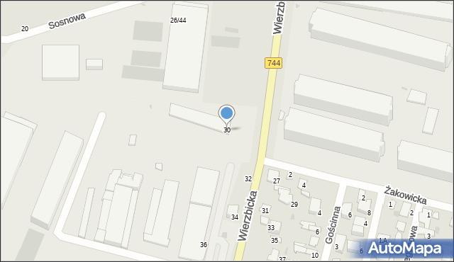 Radom, Wierzbicka, 30, mapa Radomia