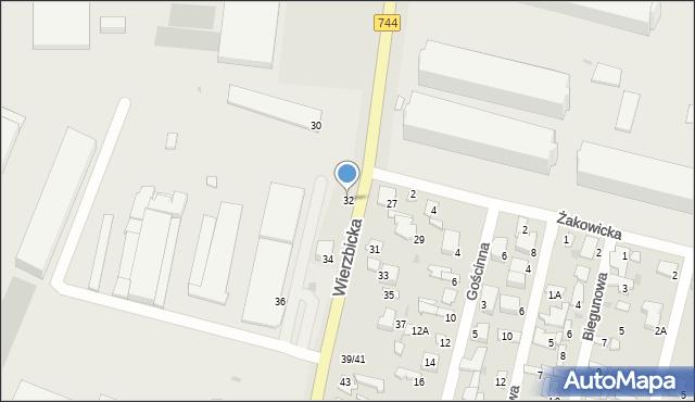 Radom, Wierzbicka, 32, mapa Radomia
