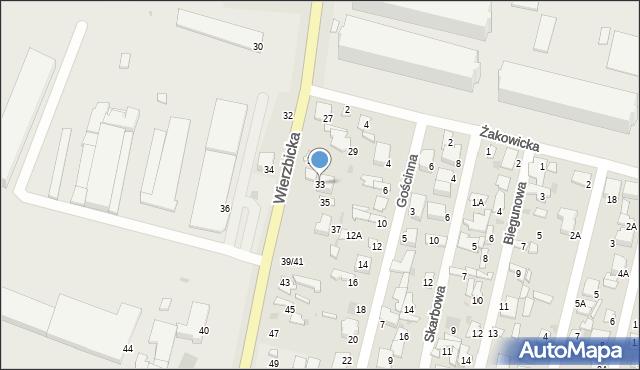 Radom, Wierzbicka, 33, mapa Radomia
