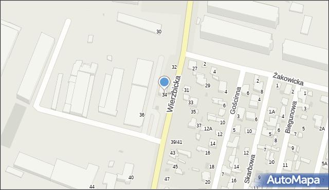 Radom, Wierzbicka, 34, mapa Radomia