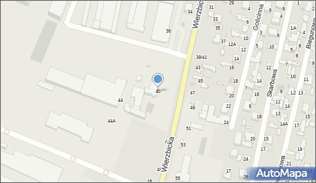 Radom, Wierzbicka, 40, mapa Radomia