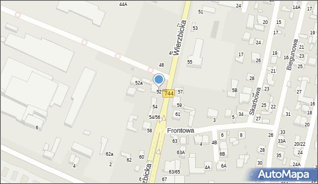 Radom, Wierzbicka, 52, mapa Radomia