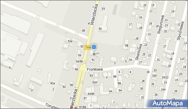 Radom, Wierzbicka, 59, mapa Radomia