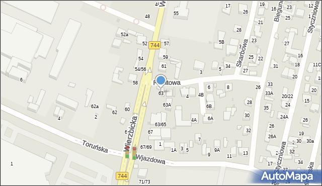 Radom, Wierzbicka, 63, mapa Radomia