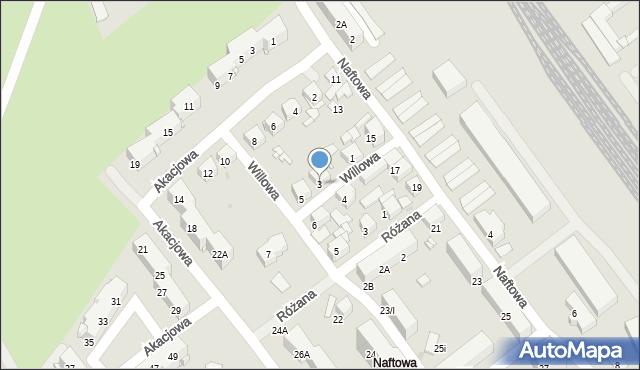 Sosnowiec, Willowa, 3, mapa Sosnowca
