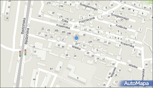 Sosnowiec, Wielka, 13, mapa Sosnowca