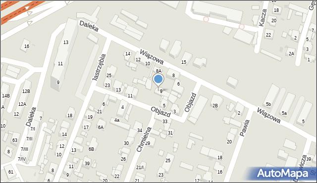 Sosnowiec, Wiązowa, 8B, mapa Sosnowca