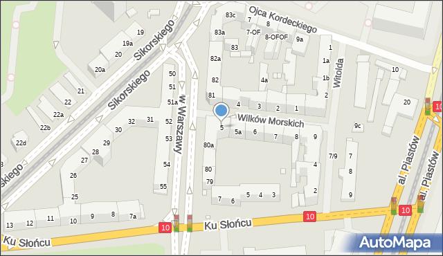 Szczecin, Wilków Morskich, 5, mapa Szczecina